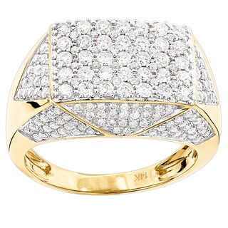 Luxurman 14k Yellow Gold Men's 2 3/4ct TDW Diamond Pinky Ring