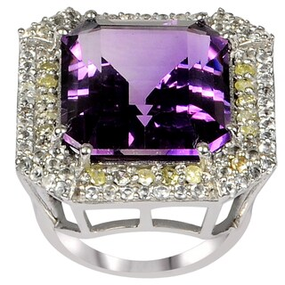 Orchid Jewelry One of A Kind 925 Sterling Silver Ring 19.61ct TGW Genuine Diamond, Amethyst & White Topaz