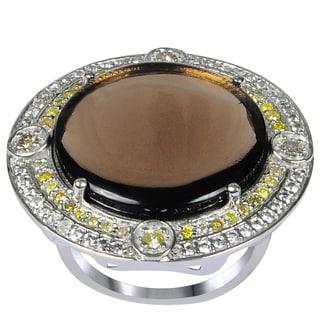 Orchid Jewelry One of A Kind 925 Sterling Silver Ring 14.92ct TGW Genuine Smoky Quartz, Diamond, Citrine & White Topaz
