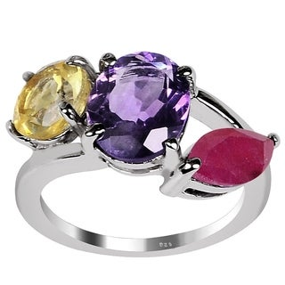 Orchid Jewelry 925 Sterling Silver 4 11/20ct Amethyst, Citrine and Ruby 3-stone Ring
