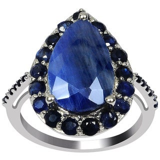 Orchid Jewelry Sterling Silver 7 1/2ct. Genuine Sapphire Engagement Ring