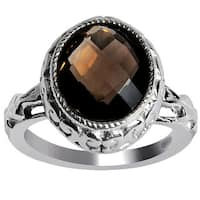 Orchid Jewelry 925 Sterling Silver Ring 3.65ct TGW Genuine Smoky Quartz