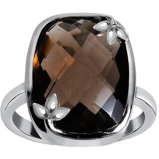 Orchid Jewelry 925 Sterling Silver 8ct. Smoky Quartz Cushion-cut Engagement Ring