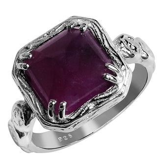 Orchid Jewelry 925 Sterling Silver 6 1/20ct Square-cut Ruby Ring - Red
