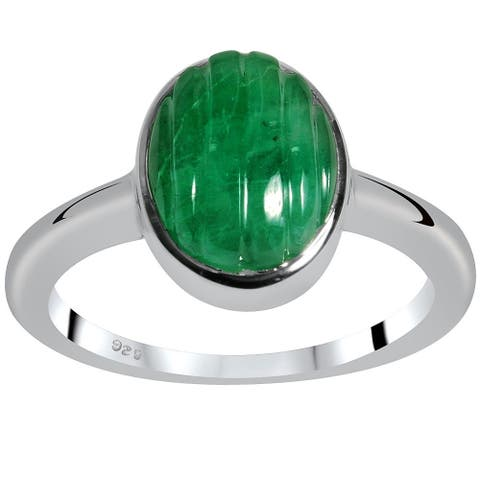 Emerald Sterling Silver Oval Promise Ring Orchid Jewelry