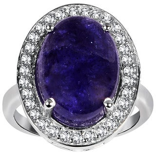 Orchid Jewelry 925 Sterling Silver Ring 9.45ct TGW Genuine Taznanite & White Topaz