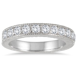 Marquee Jewels 10K White Gold 1/2 Carat TW Engraved Antique Styled Channel Band (J-K, I2-I3)