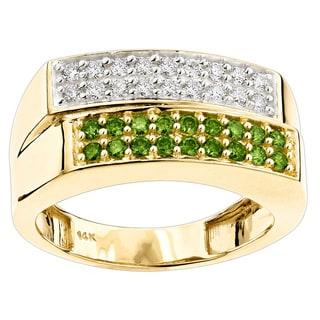 Luxurman 14k Gold 1 1/10ct TDW White Green Diamond Ring (SI1-SI2)
