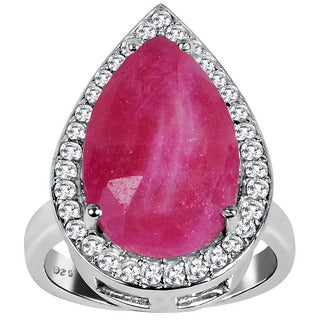 Orchid Jewelry 925 Sterling Silver 8 1/10ct Pear-cut Ruby and White Topaz Ring
