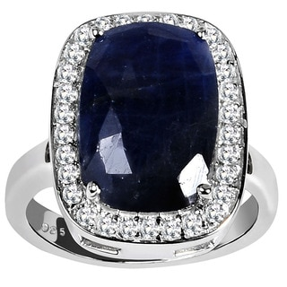 Orchid Jewelry 925 Sterling Silver Ring 8.60ct TGW Genuine Sapphire & White Topaz