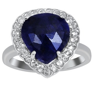 Orchid Jewelry 925 Sterling Silver Ring 5.0ct TGW Genuine Sapphire & White Topaz