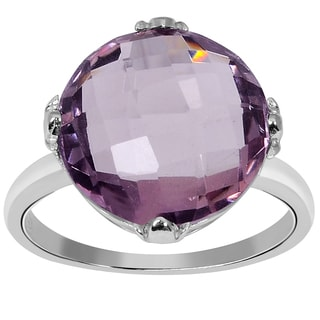 Orchid Jewelry 925 Sterling Silver Ring 8.10ct TGW Genuine Pink Amethyst