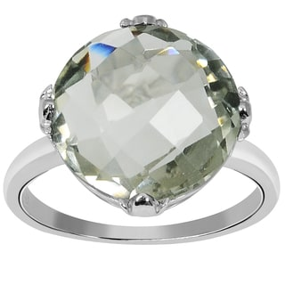 Orchid Jewelry 925 Sterling Silver Ring 8.10ct TGW Genuine  Green Amethyst Size 7