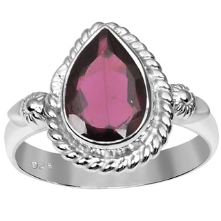 Orchid Jewelry 925 Sterling Silver Ring 1.40ct TGW Genuine Garnet