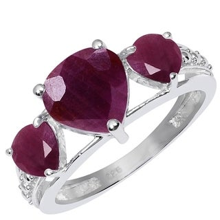 Orchid Jewelry 925 Sterling Silver Ring 3.35ct TGW Genuine Ruby