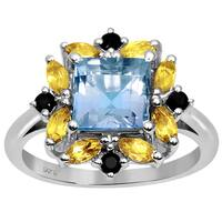 Orchid Jewelry 925 Sterling Silver 2 8/9ct TGW Citrine and Sapphire Gemstone Ring
