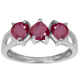 Orchid Jewelry Sterling Silver 2.05 Carat Genuine Ruby 3-Stone Heart Ring