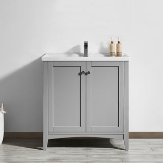 Asti Grey Carrara White Marble 30 Inch Single Vanity