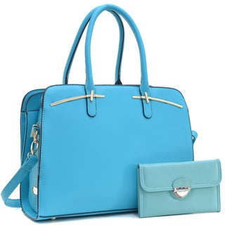 Dasein Faux Leather Double Magnetic Closure Satchel Handbag & Faux Leather Wallet with Buckle Snap Closure