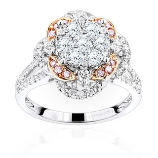 Luxurman 14k Gold 1 3/4ct TDW Cluster Flower Diamond Engagement Ring (SI1-SI2)