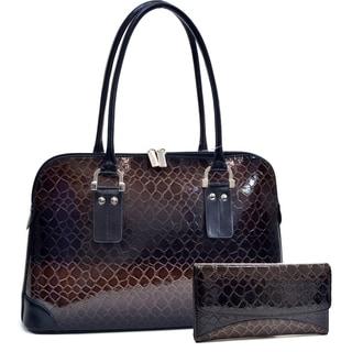 Dasein Patent Leatherette Snake Skin Shoulder Bag & Woman Fashion Snake Skin Fold Over Flap Checkbook Wallet