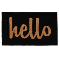 Black and Brown Hello Doormat (2' x 3')