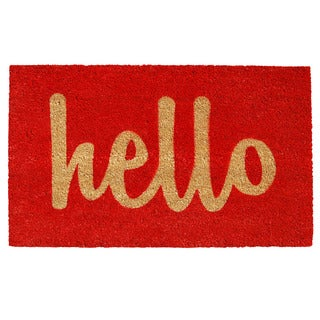Hello Doormat in Red (1'5 x 2'5)