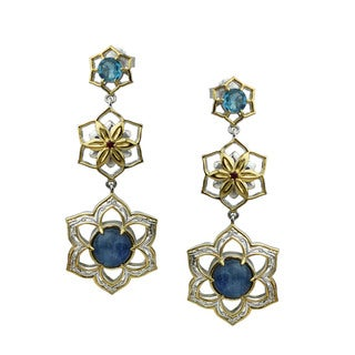 One-of-a-kind Michael Valitutti Kyanite with Ruby and London Blue Topaz Flower Earrings