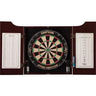 Viper Hudson Pine Dartboard Cabinet & Sisal Dartboard & Steel Tip Darts All-In-One Dart Center / Mod