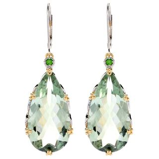 One-of-a-kind Michael Valitutti Green Amethyst and Chrome Diopside Drop Earrings
