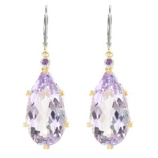 Michael Valitutti Elongated Pink Amethyst with African Amethyst Earring