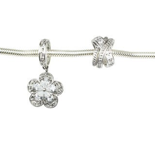Michael Valitutti Flower and Criss Cross Charm Set 6.75-inch Bracelet