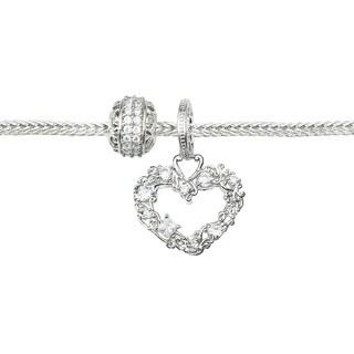 Michael Valitutti Cubic Zirconia Carnaval Heart and Eternity Charm Bracelet