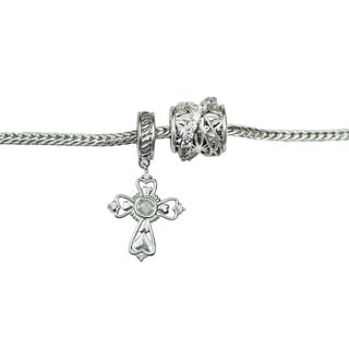 Michael Valitutti Cubic Zirconia Cross and Bypass Charm Bracelet