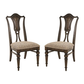 Side Chair with Cushioned Seat in Dark Brown (Set of 2)