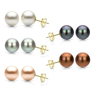 DaVonna Yellow Gold over Silver Round Freshwater Pearl Stud Earrings (6-7 millimeters)