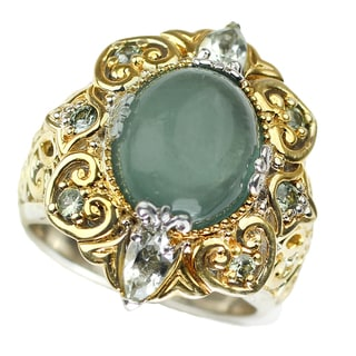 One-of-a-kind Michael Valitutti Opaque Teal Tourmaline with Green Amethyst and Green Sapphire Ring