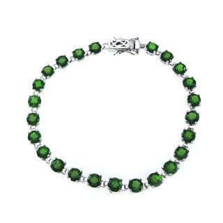 De Buman 12.9ctw Genuine Chrome Diopside 925 Silver Bracelet