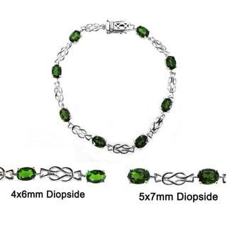 De Buman Genuine Chrome Diopside 925 Silver Bracelet