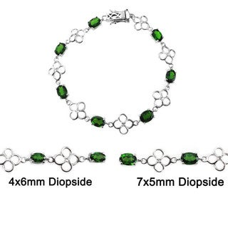 De Buman Genuine Chrome Diopside and White Topaz 925 Silver Bracelet