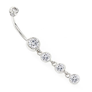 Luxurman 14k Gold 1 5/8ct TDW Diamonds Dangling Belly Button Ring (H-I, SI1-SI2)