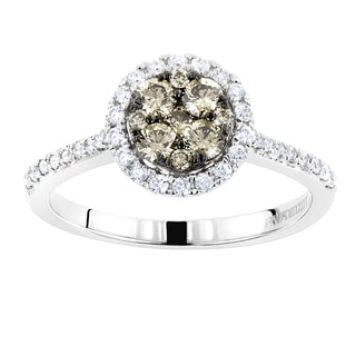 Luxurman 14k Gold 3/4ct TDW Halo Round Champagne Diamond Engagement Ring (SI1-SI2)