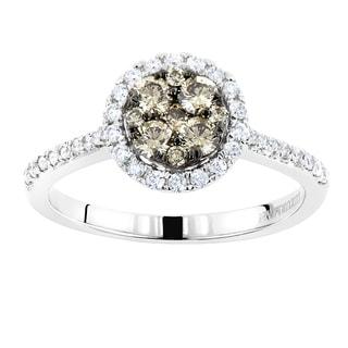 Luxurman 14k Gold 3/4ct TDW Halo Round Champagne Diamond Engagement Ring (SI1-SI2)