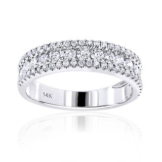 Luxurman 14k Gold 1ct TDW Round Diamond Wedding Band (G-H, VS1-VS2)