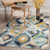 Safavieh Monaco Vintage Watercolor Blue/ Multicolored Distressed Rug - 4' x 5' 7