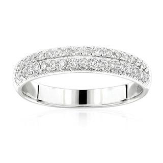 Luxurman 14k Gold 2/5ct TDW Designer Thin Diamond Wedding Band