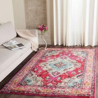 Safavieh Monaco Bohemian Medallion Pink/ Multicolored Distressed Rug (4' x 5' 7)
