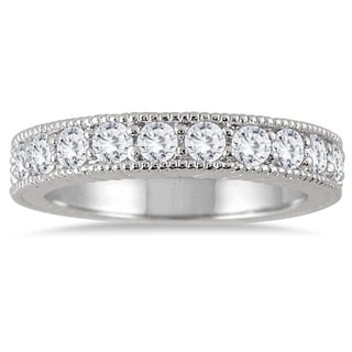 Marquee Jewels 10K White Gold 3/4ct TDW Engraved Antique Styled Channel Band  (J-K, I2-I3)