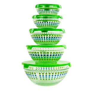 10-piece Dotted Glass Lunch Bowls Healthy Food Storage Containers Set with Green Lids|https://ak1.ostkcdn.com/images/products/11717867/P18638746.jpg?impolicy=medium