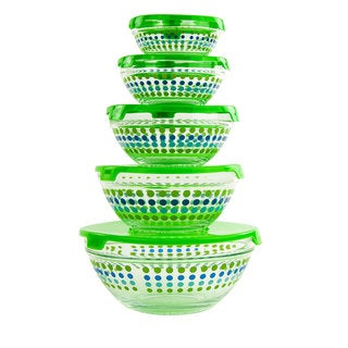 Imperial Home Dotted Glass Lunch Bowls Healthy Food Storage Containers 10-piece Set with Green Lids